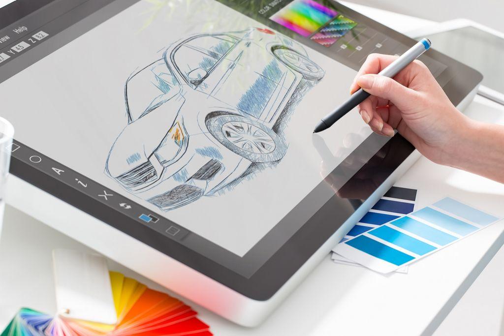 Design gráfico com um tablet de digitalização
