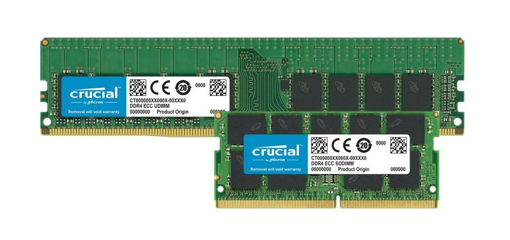 Módulos de memória com ECC DDR4 Crucial.