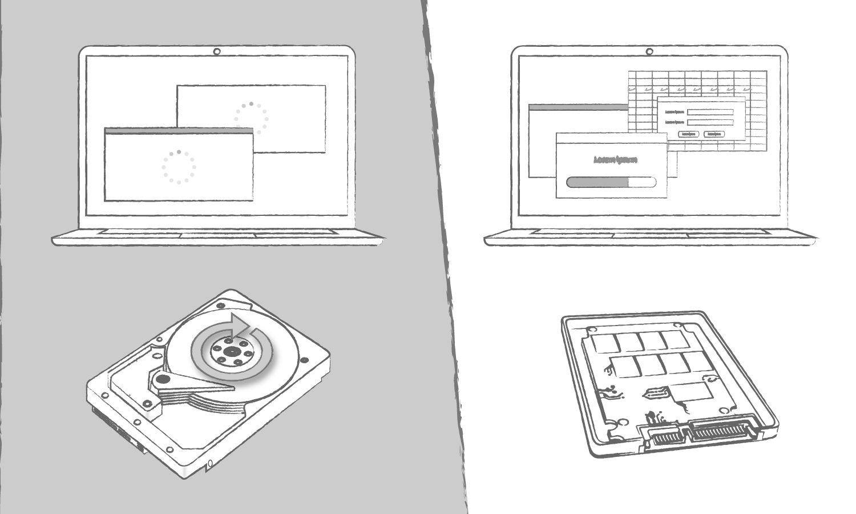 Uma ilustração que demonstra os benefícios de um SSD em relação a um disco rígido no tempo de carregamento de programas de computador