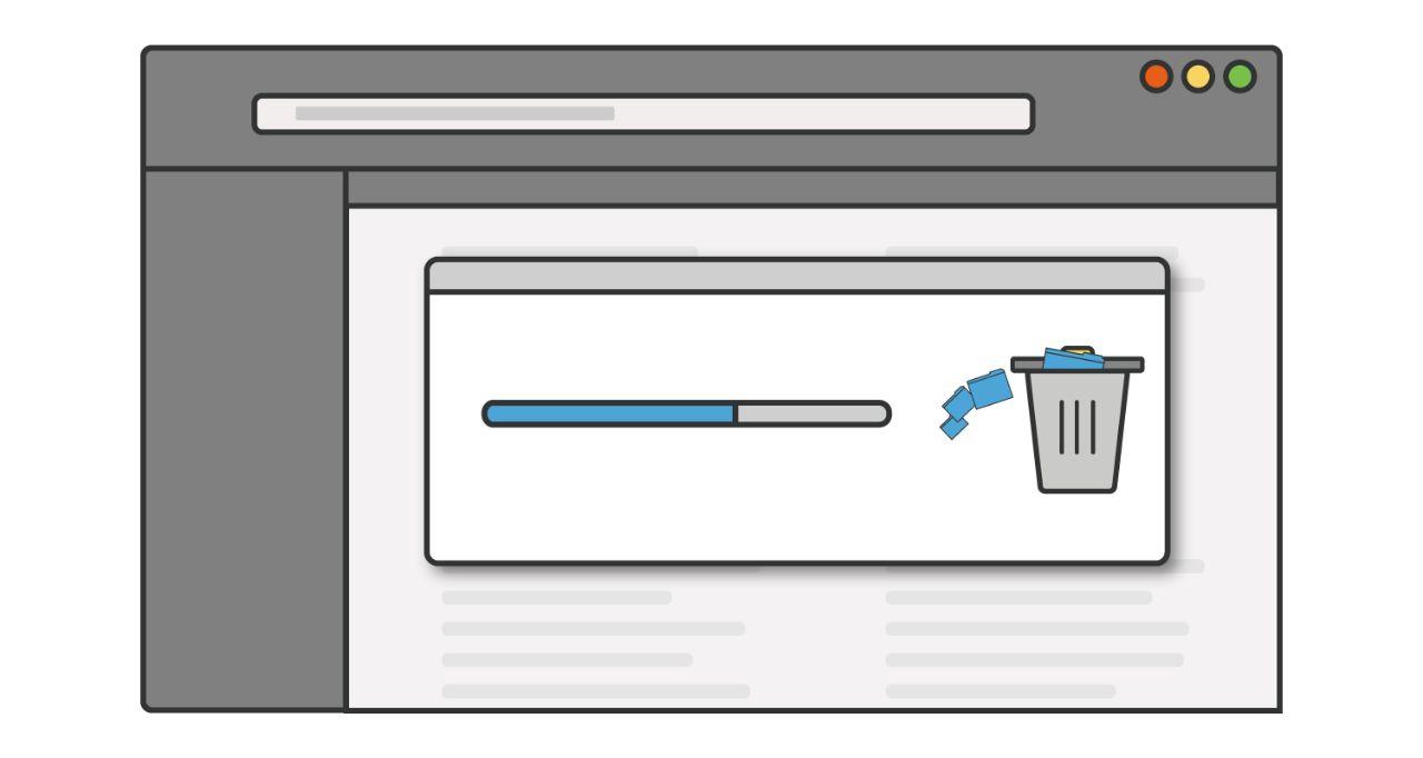 Ilustração de uma barra de progresso de como os programas ou aplicativos não utilizados são excluídos de um computador