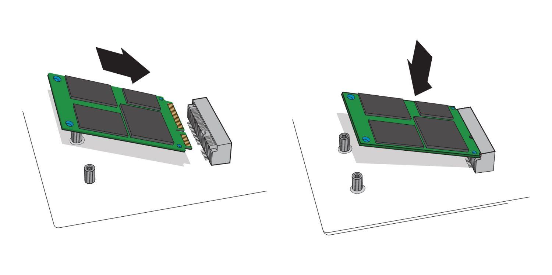 Uma ilustração para demonstrar como um SSD mSATA é inserido no soquete mSATA da placa-mãe de um computador desktop