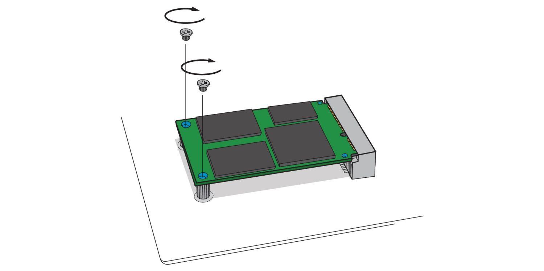Uma ilustração que demonstra como aparafusar um SSD mSATA novo no soquete mSATA da placa-mãe de um computador desktop