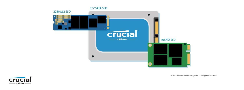 Ilustração de 3 fatores de forma diferentes de um SSD