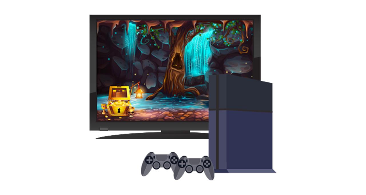 Console de jogos e o monitor de TV