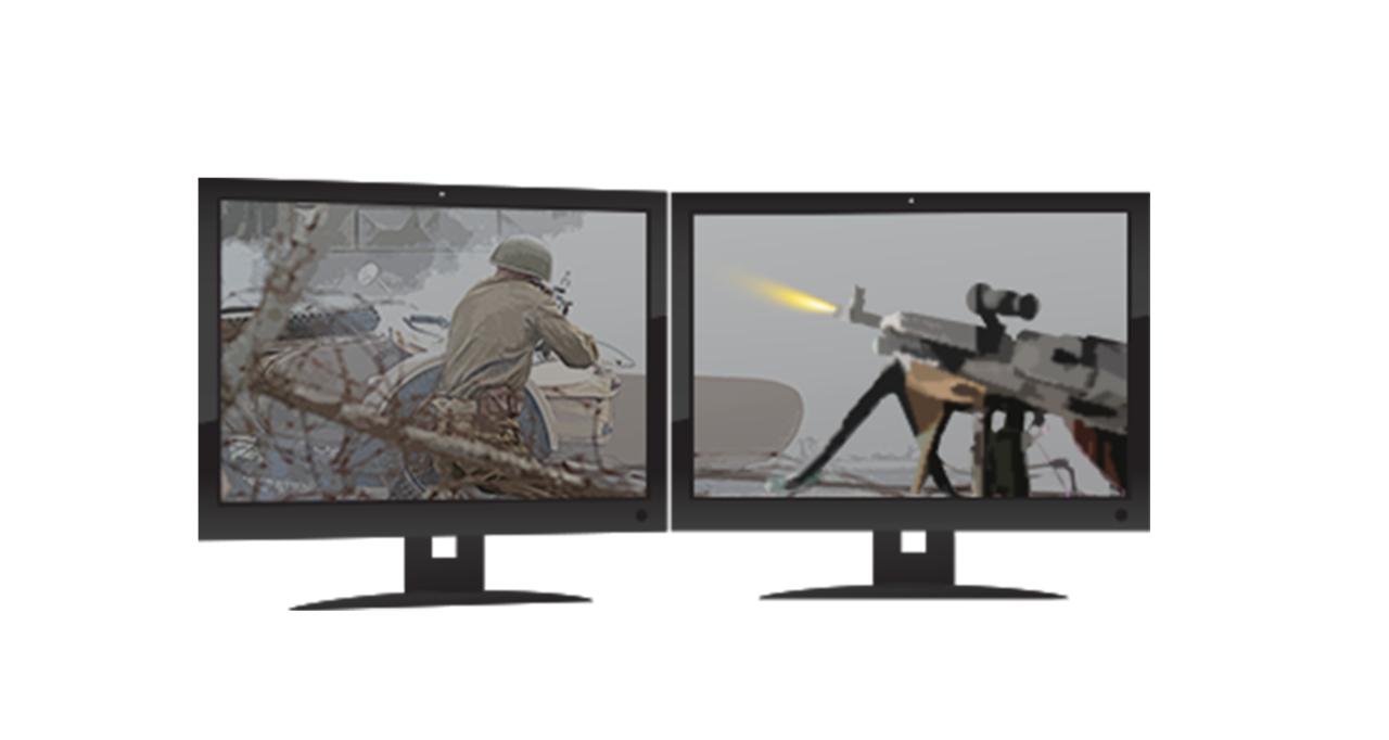 Dois monitores de jogos