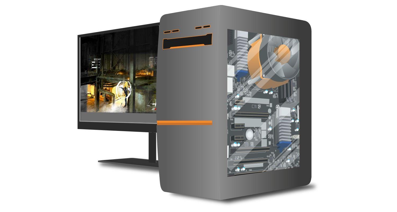 Computador gamer e monitor com um jogo