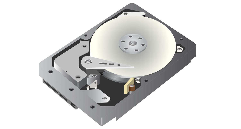 Uma imagem gráfica de vetor de um disco rígido (hdd) em um fundo branco