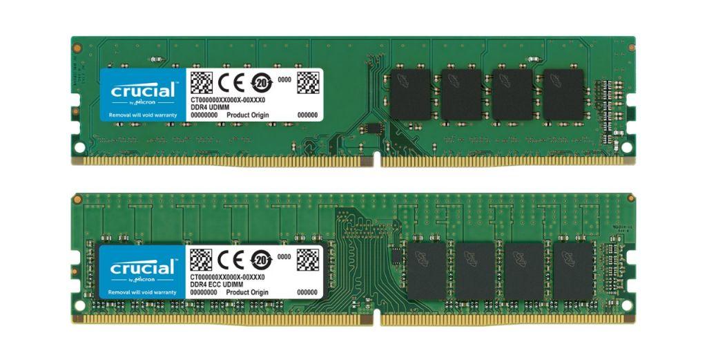 Um módulo de memória RAM Crucial sem ECC e um módulo de memória RAM Crucial com ECC