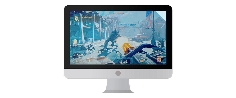 Monitor do computador Mac com um videogame em destaque na tela.