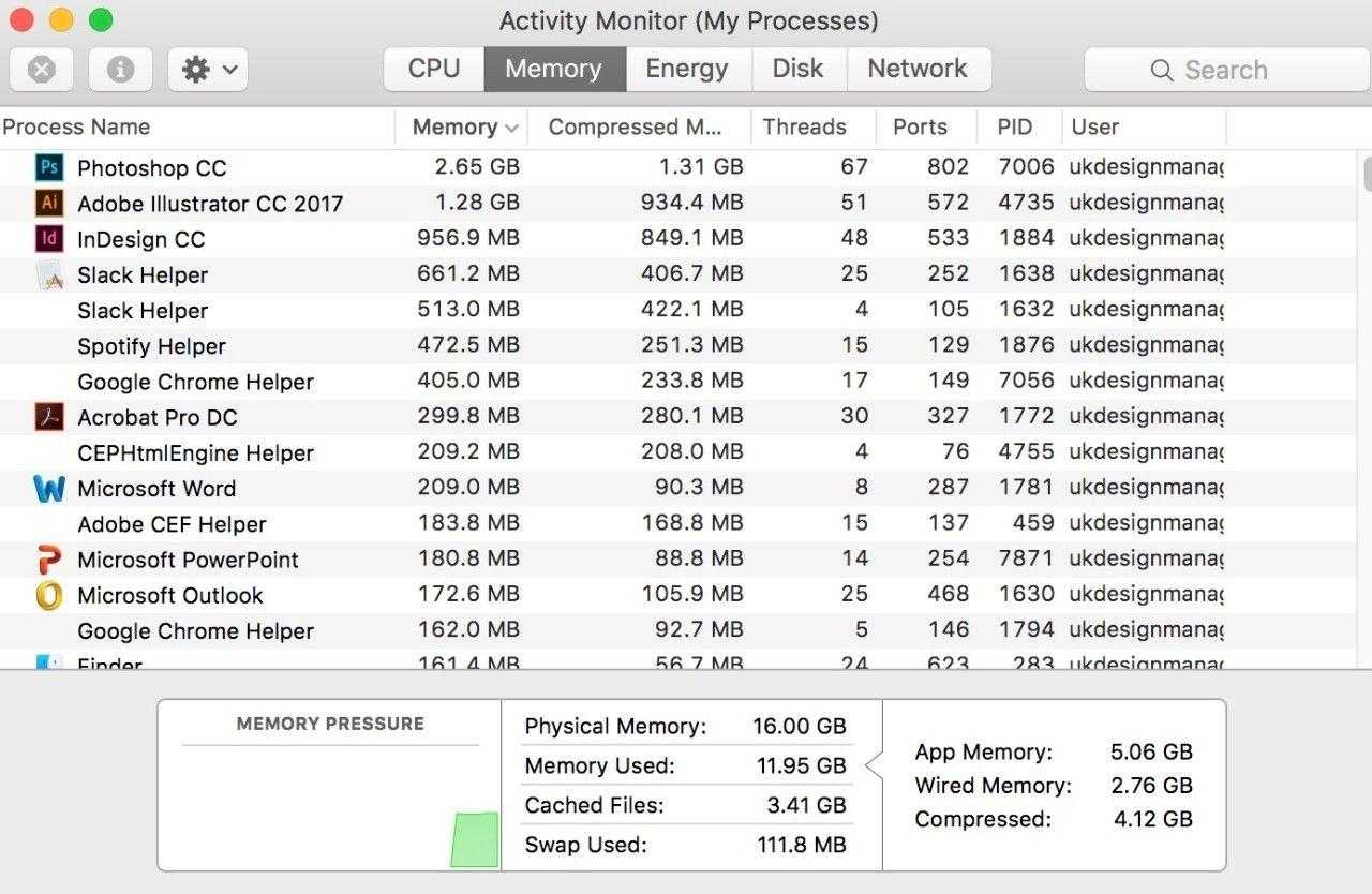 Captura de tela da janela do Monitor de Atividades (Meus Processos) em um Mac