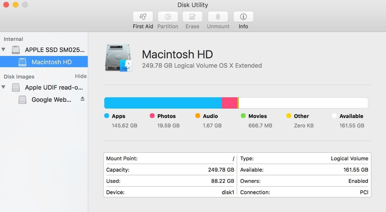 Captura de tela da janela pop-up do Utilitário de disco em um Mac