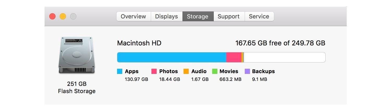 Informações de armazenamento para Mac.