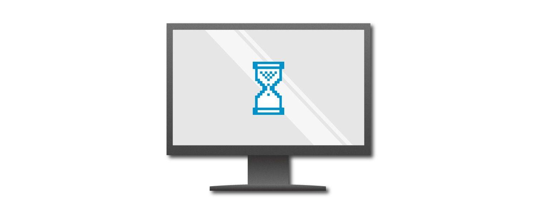 Gráfico de uma tela de computador exibindo um temporizador em forma de um ovo azul