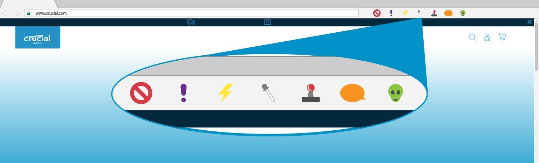 Uma ilustração de extensões de navegador em uma janela de navegador