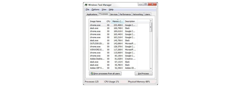 Janela pop-up do gerenciador de tarefas do Windows 7 com muitos processos em execução