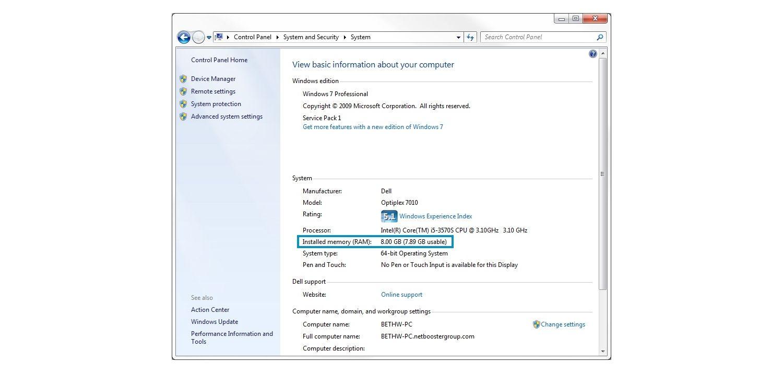 Janela pop-up do sistema Windows 7