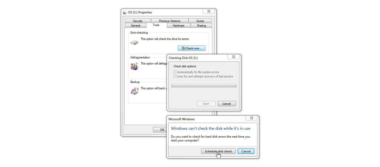 """Janela """"Verificaçãodedisco"""" no Windows7"""