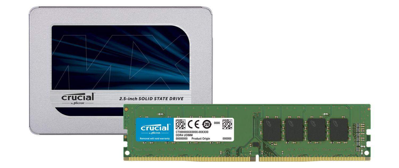 SSD e módulos de memória RAM da Crucial