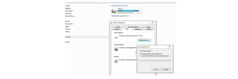 Captura de tela de investigação se um disco rígido está corrompido.