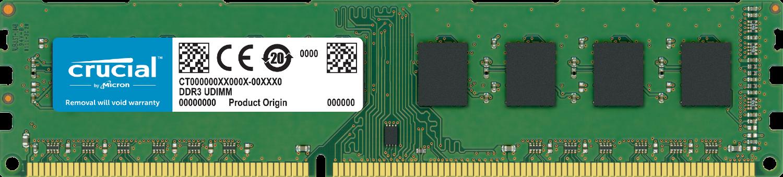 Memória RAM Crucial de um computador isolada em um fundo branco
